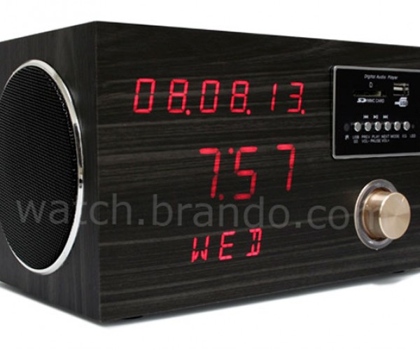 Wooden Sound Box LED Alarm Clock is Boxy, but Good