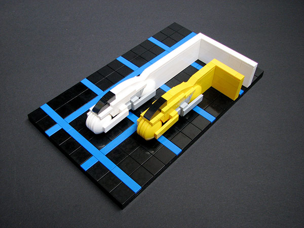 Legotron Light Cycles Speeding Down The Block