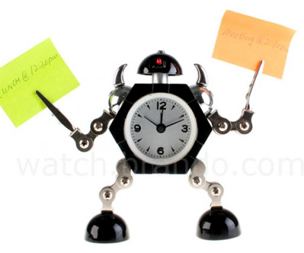 Little Robot Clock Tells Time, Holds on to Your Stuff