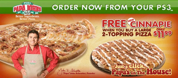 ps3 papa john's pizza promotion