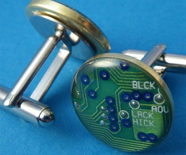 Circuit Board Cufflinks for Formal Geeks