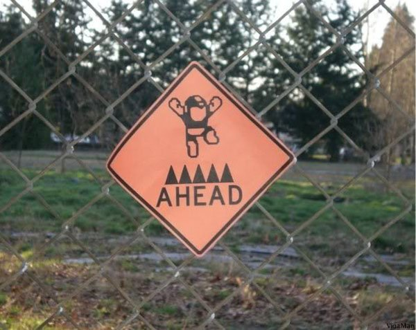 megaman spikes ahead sign