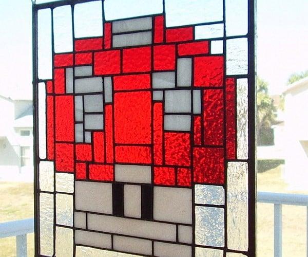 Stained Glass Mario Mushroom Powers Up Ordinary Windows