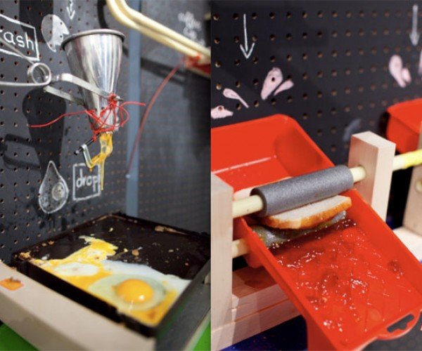 Rube Goldberg Breakfast Machine Cobbled Together From Household Items: Instructions Please!
