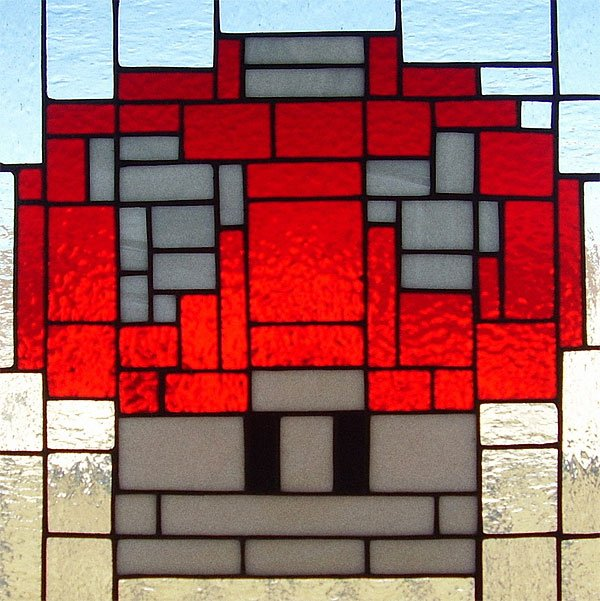 power up mushroom stained glass