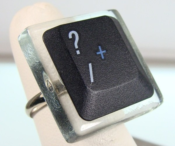 Question Mark Ring: for Romantic Cyborgs. or Geeks.