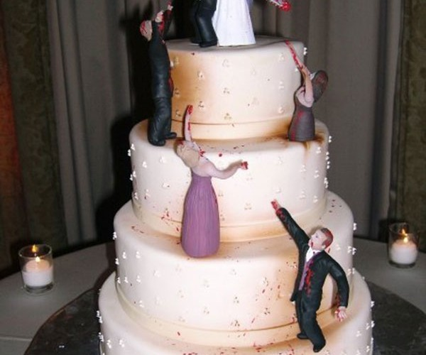 Zombie-Infested Wedding Cake Shows Couple Sticking Together While Tearing Undead Apart