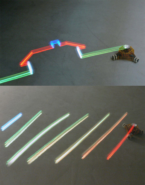 light drawing robot using LEDs to paint with light