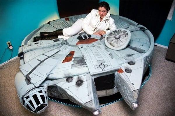 Kayla Kromer modeling the Millennium Falcon bed