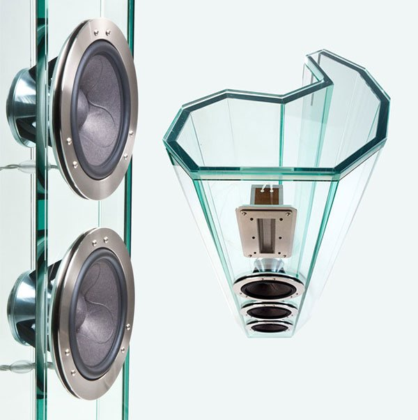 arabesque crystal speakers made out of glass