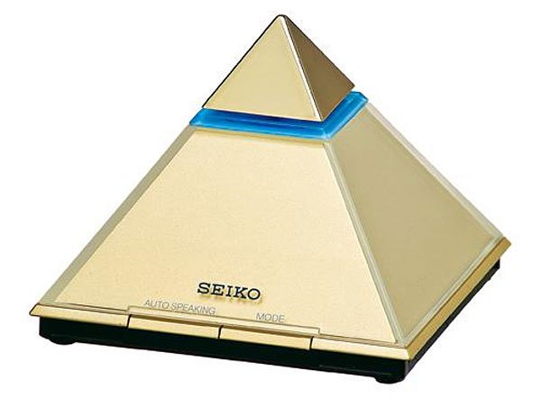 seiko pyramid talk clock gold