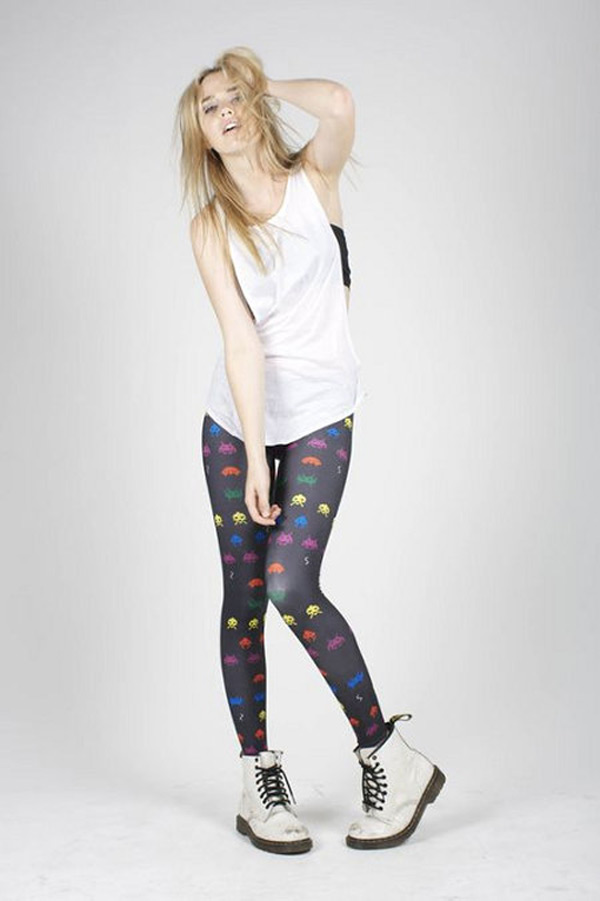 space invader geek wear tights retro