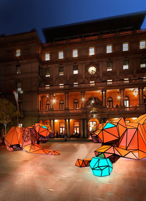 origami tiger display art led