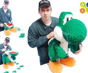 Giant LEGO Yoshi Amazingly Doesn'T Fall Over on Its Massive Nose