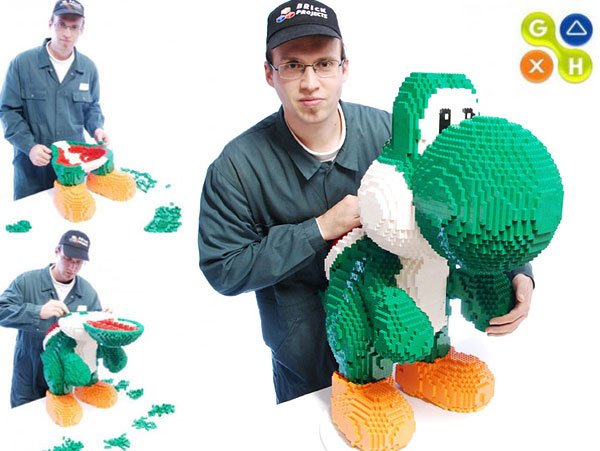 giant lego yoshi by dirk vh