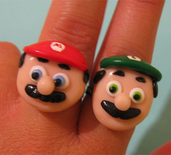 Mario and Luigi Rings by Charlie Carter Creations