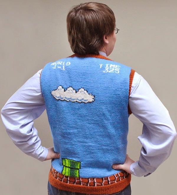 super mario sweater vest back