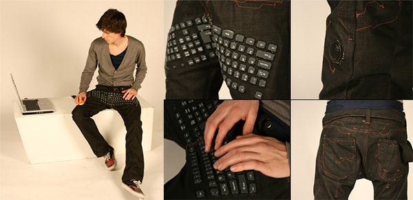 beauty and the geek pants with built-in keyboard