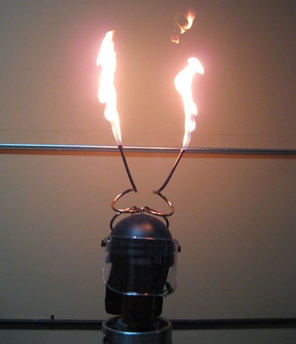 flaming kevlar helmet