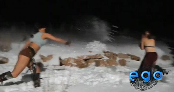 lara croft slave leia snowball fight
