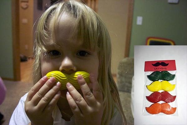 mustache crayons