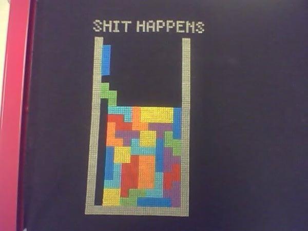 shit happens tetris cross stitch