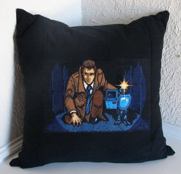 snatcher cross stitch pillow