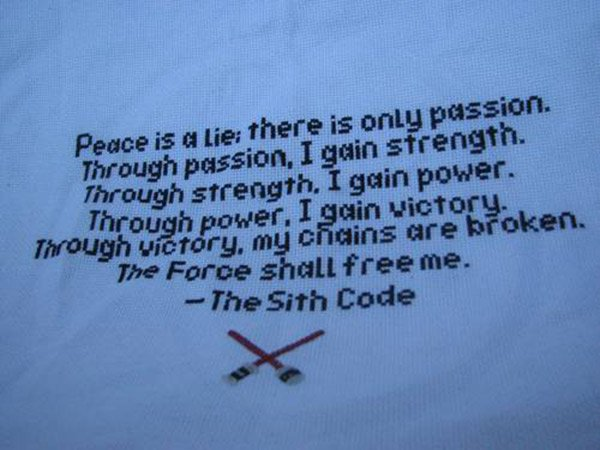 star wars sith code cross stitch