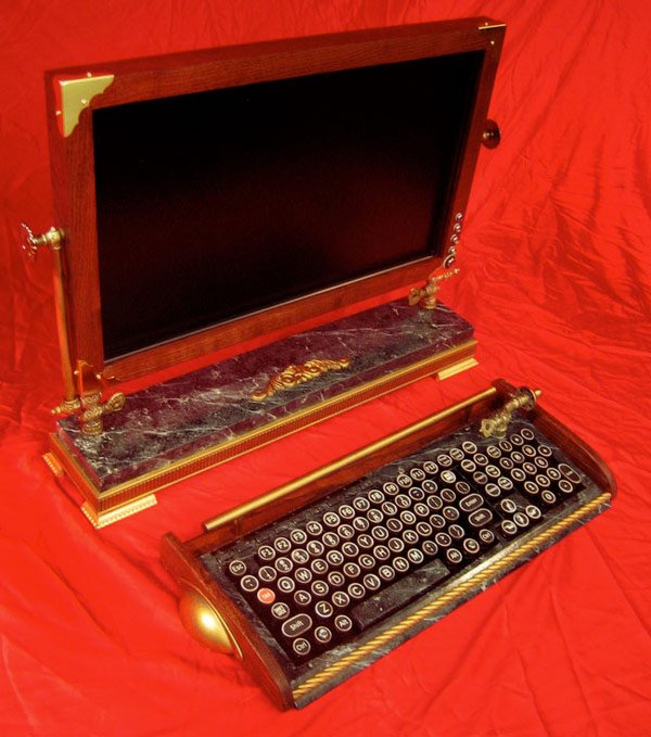 steampunk woodguy custom computer desktop