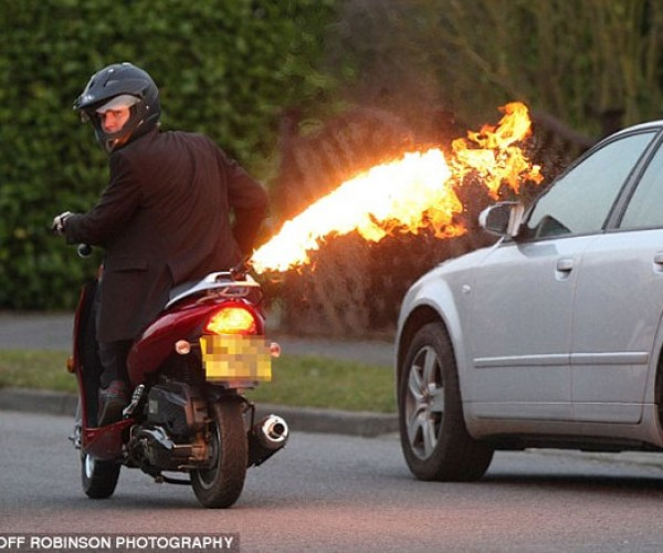 Flamethrower Scooter: Keep Back at Least 16 Feet