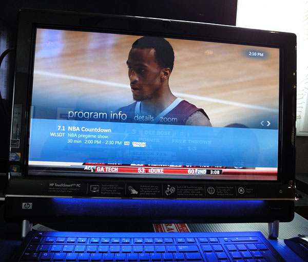 hp touchsmart windows media live tv
