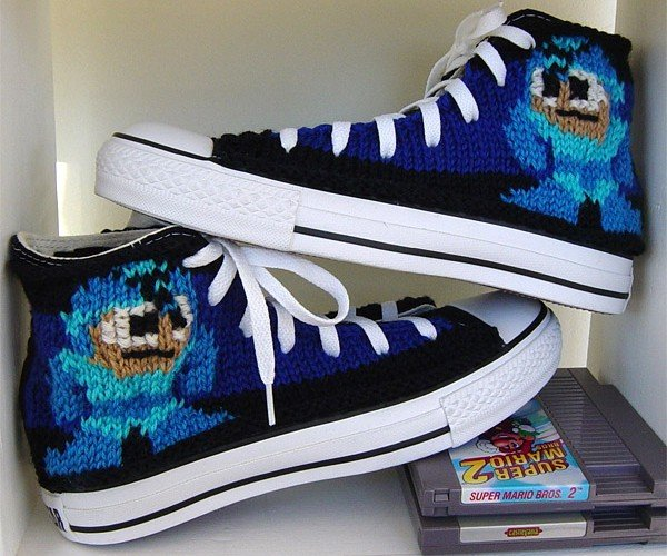 Mega Man Gets Knit Onto a Pair of Chuck Taylors