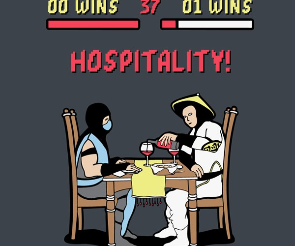Mortal Kombat Hospitality Shirt: Wine and Dine Him!