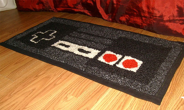 Warm your 8 bit toes on an nes controller rug Controller rug