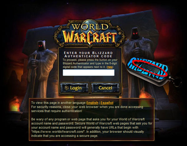 world of warcraft authentication page