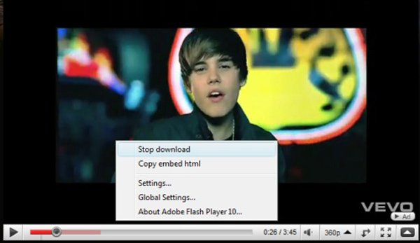 youtube right click stop buffering