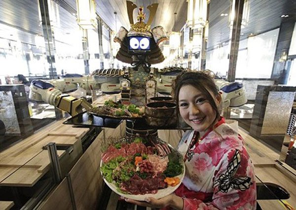 robots servers dancing thailand japan