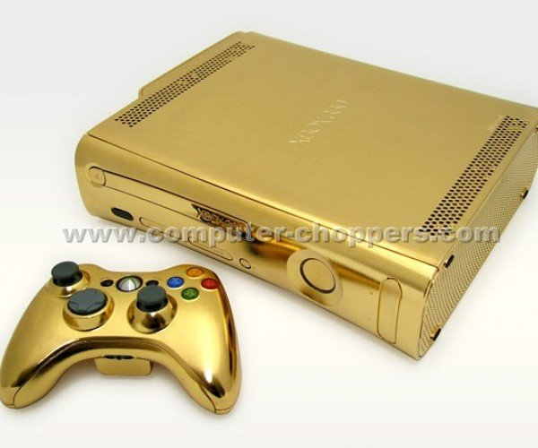 golden xbox 360 and controller by computer choppers