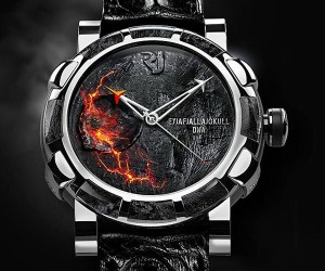 Romain Jerome Watch has Rocks and Ash From the Eyf.. Eyjfa.. From That Volcano in Iceland