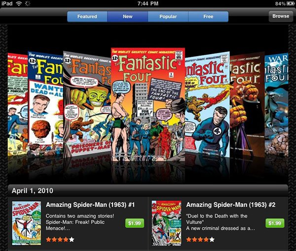 iPad Marvel Comics app
