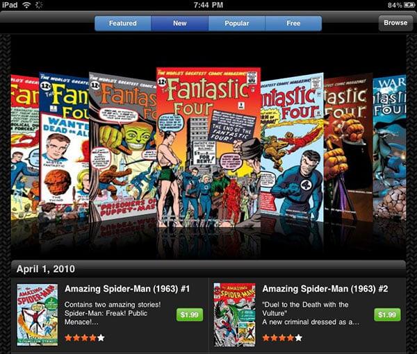 iPad Marvel Comics app
