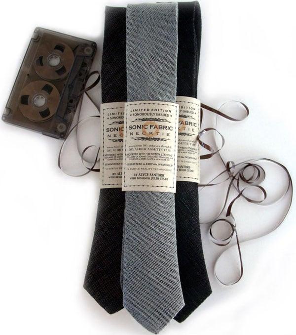 sonic fabric cassette tape necktie