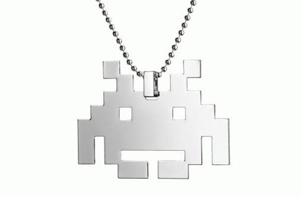 space invaders pendant jewelry gaming old school retro