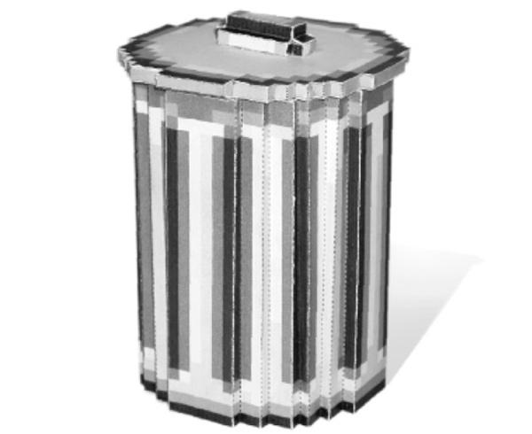 8-bit codeco trash can recycling bin papercraft