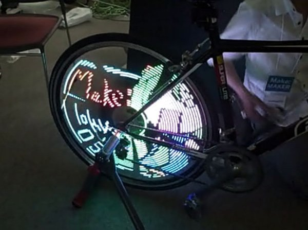 tokyo japan make hack led spoke tron bike