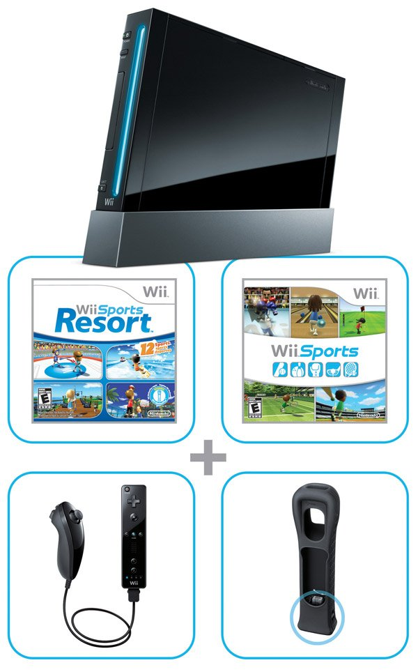 nintendo wii black bundle sports motion plus
