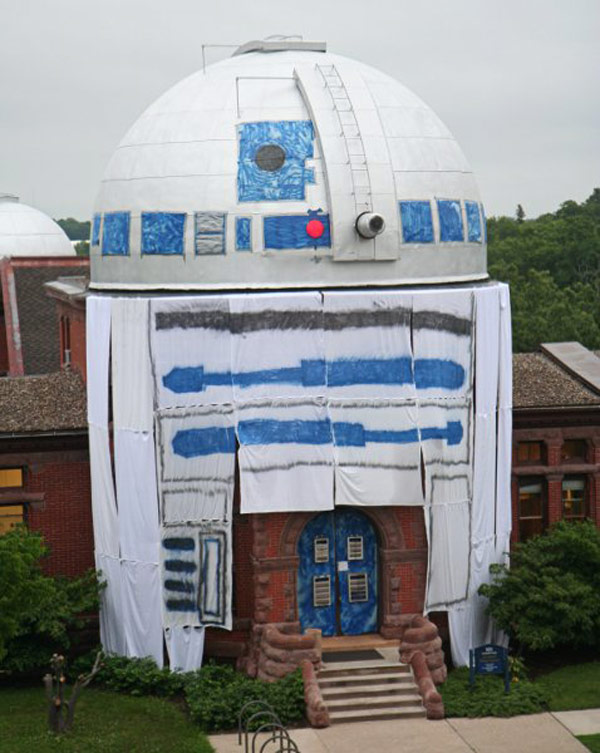 r2d2 star wars building prank fun minnesota carleton college