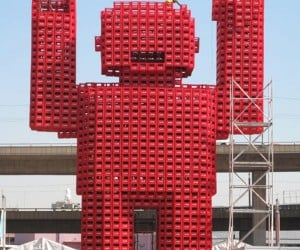 Voxel-Like Coke Man Constructed for the World Cup