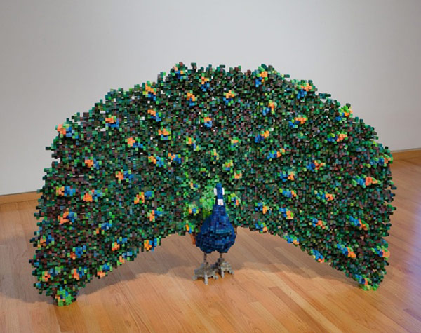 Shawn smith s pixel sculptures combine 8 bit world with for Art made by waste material
