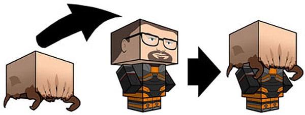 gordon_freeman_headcrab_papercraft
